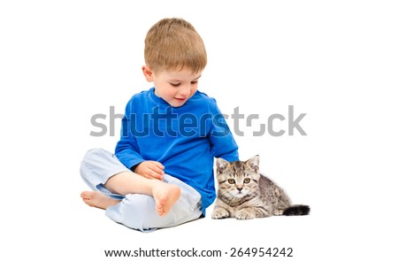 Cute boy sitting with a kitten Scottish Straight isolated on white background - stock photo
