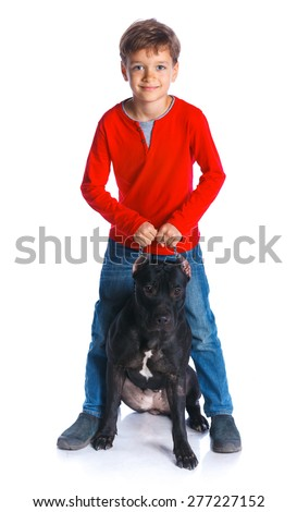 Cute boy sitting with his Pit Bull Terrier smiling at camera on isolated white background - stock photo