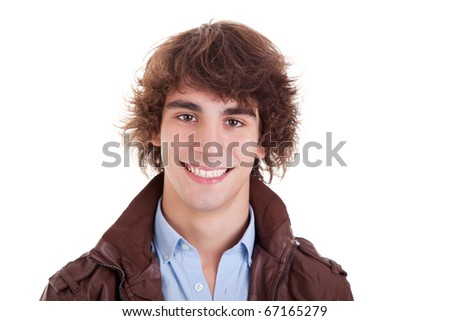 cute boy, smiling, isolated on white, studio shot - stock photo