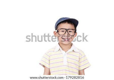 Cute boy smiling on the white background