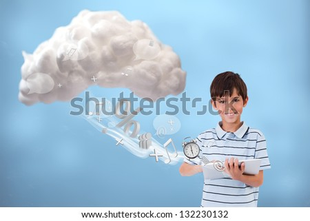 Cute boy using tablet to connect to cloud computing on blue background - stock photo