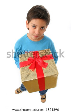 Cute boy with a christmas gift