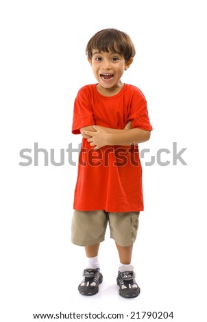 Cute Boy with a Surprise expression . - stock photo