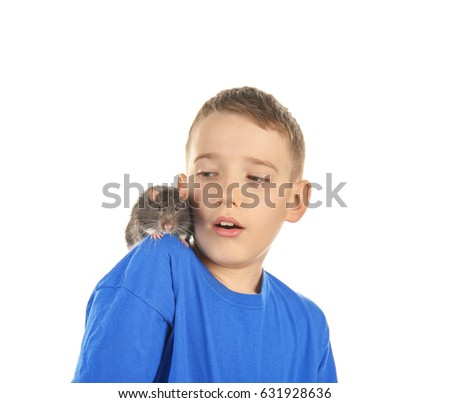 Cute boy with funny rat on white background