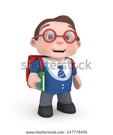 cute boy with school bag and book-3d rendered isolated - stock photo