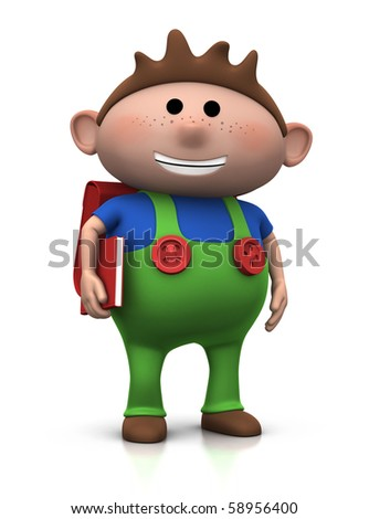cute brown-haired boy with a satchel on his back and book under his arm - 3d rendering/illustration - stock photo