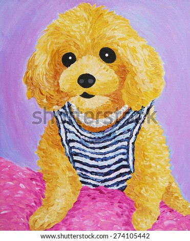 cute brown poodle dog on pink bed pillow, acrylic color painting - stock photo