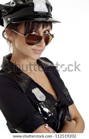 Cute brunette in a suit of police on a white background - stock photo