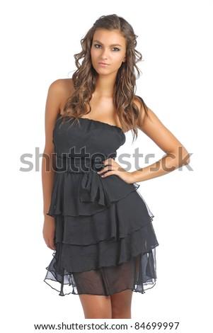 Cute brunette looking and posing in studio - stock photo