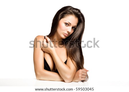 cute brunette  on  white background