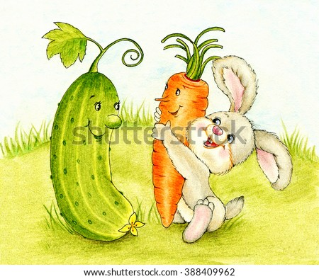 Cute bunny with carrot and cucumber