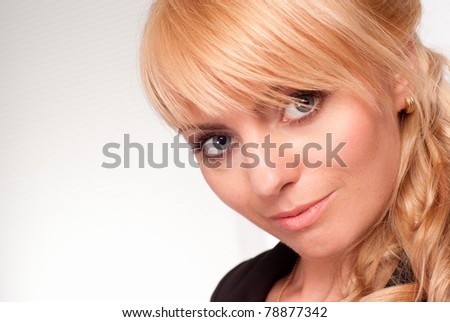 cute business woman posing on a white background