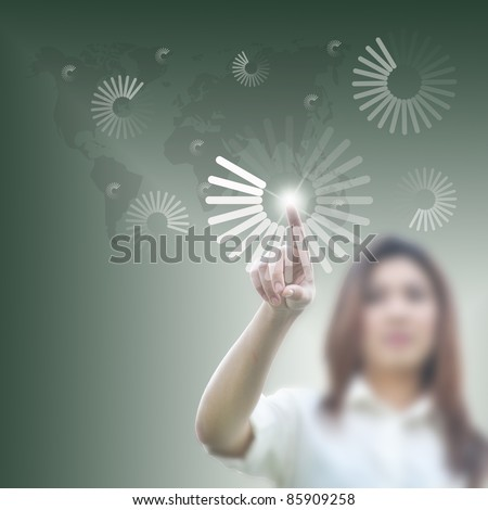 cute business woman with business cocepts. - stock photo