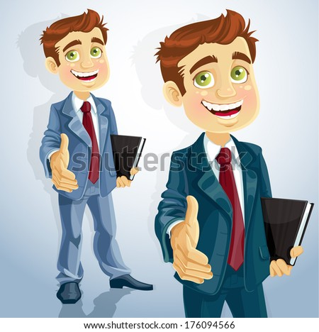 Cute businessman gives his hand to greet - stock photo
