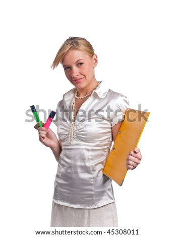 Cute businesswoman, holding text markers and folder with documents