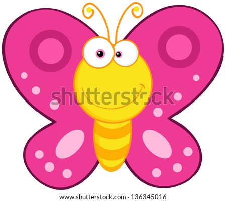 Cute Butterfly Cartoon Mascot Character. Raster Illustration.Vector Version Also Available In Portfolio. - stock photo