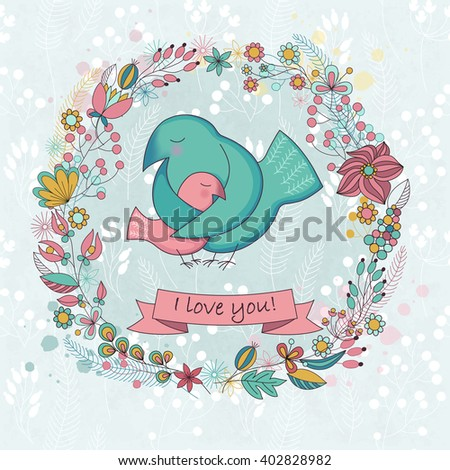 Cute card  for Happy mothers day. Background with floral wreath and Mother's hugs. Cute birds - mom and nestling. Raster illustration. - stock photo