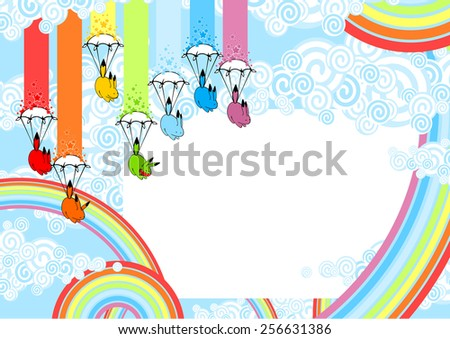 Cute card with playful rainbow monsters (raster version) - stock photo