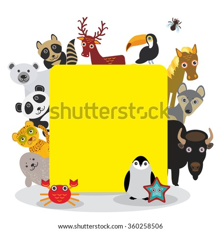 Cute Cartoon animals set toucan deer raccoon horse wolf Bison Penguin starfish crab seal leopard panda polar bear, frame on white background, card design, banner for text.  - stock photo