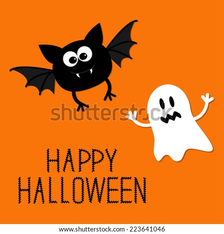 Cute cartoon bat and ghost. Happy Halloween card. Flat design.  - stock photo
