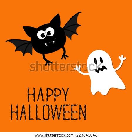 happy halloween card flat design