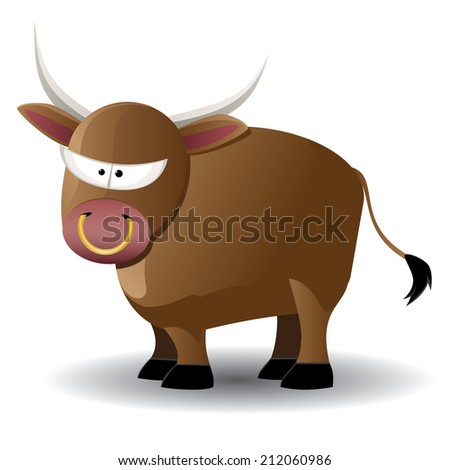 Cute cartoon brown bull illustration on white background. - stock photo
