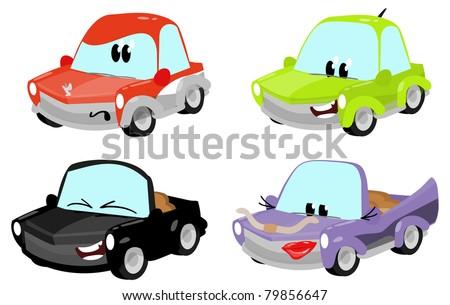 cute cartoon car characters - stock photo