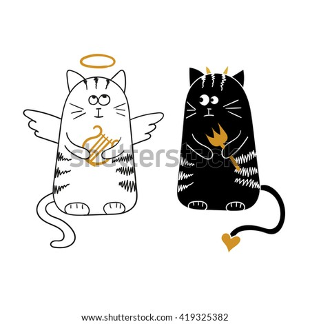 Cute cartoon cats, angel and devil. Raster illustration. - stock photo