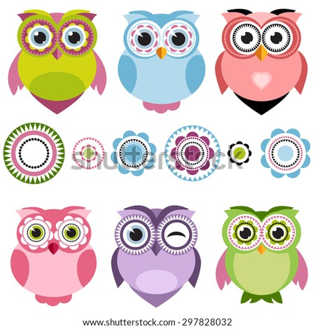 Cute cartoon color owls set. Raster version - stock photo