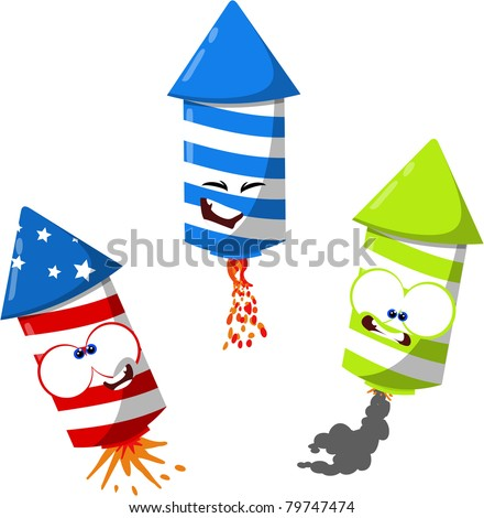 Cute cartoon fireworks - stock photo