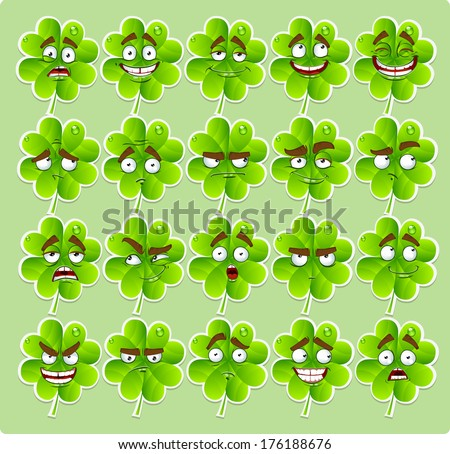 Cute cartoon four-leaf clover with many expressions stickers - stock photo