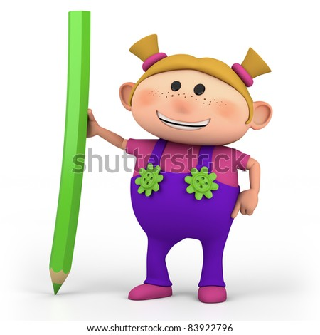 cute cartoon girl with colored pencil- high quality 3d illustration - stock photo