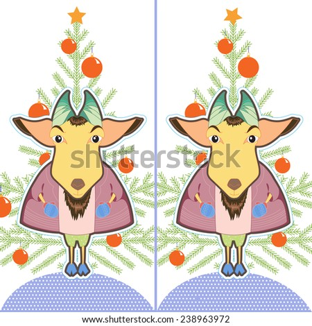 Cute cartoon Goat ling. Find the ten differences between the two pictures. Puzzle for kids. New Year brain teaser - stock photo