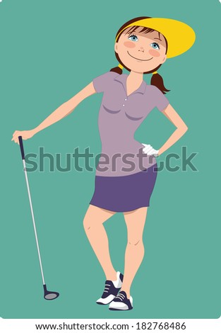 Cute cartoon golfer girl standing with a golf club - stock photo