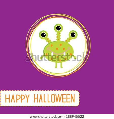 Cute cartoon green monster. Violet background. Happy Halloween card. Rasterized copy - stock photo
