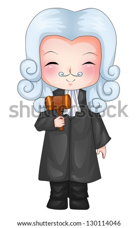 Cute cartoon illustration of a judge - stock photo