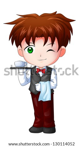 Cute cartoon illustration of a waiter - stock photo