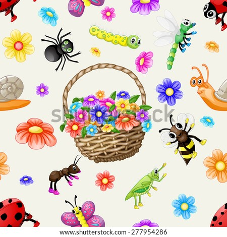 Cute cartoon insects pattern - stock photo
