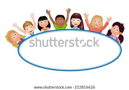 Cute cartoon kids frame - stock photo