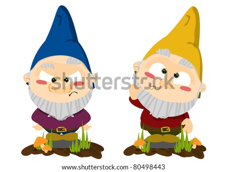 Cute cartoon lawn gnomes