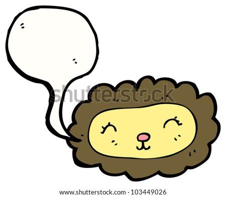 cute cartoon lion with love heart - stock photo
