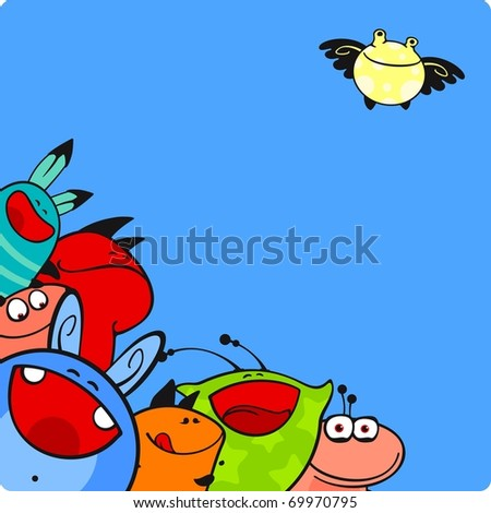 Cute cartoon monsters group (raster version) - stock photo