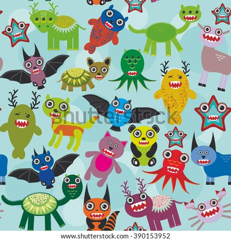 Cute cartoon Monsters seamless pattern on blue background.