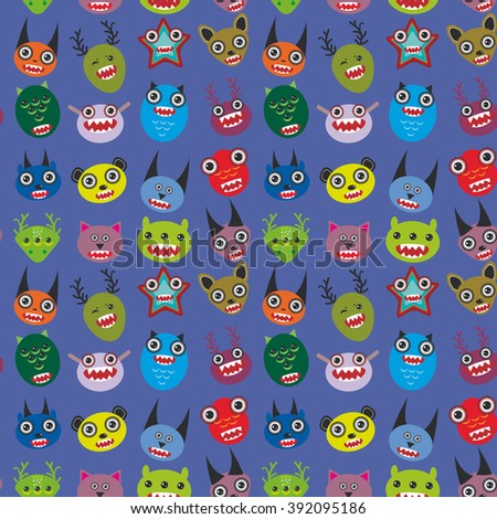 Cute cartoon Monsters Set on blue background. seamless pattern  - stock photo