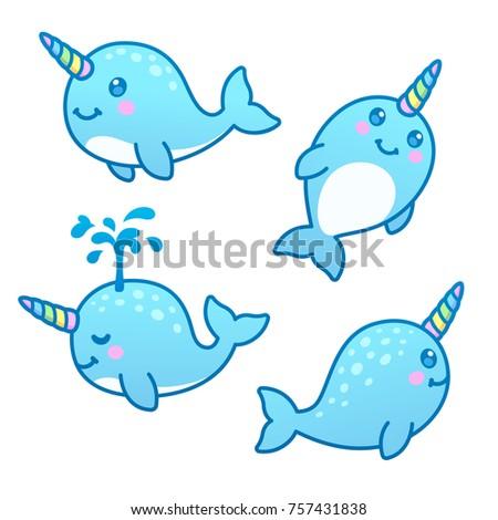Cute Cartoon Narwhal Drawing Set Funny Ilustración de stock757431838 ...