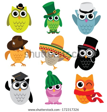 Cute cartoon owl collection.  - stock photo