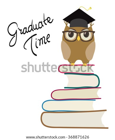 cute cartoon owl with eyeglasses and graduation cap on books. isolated on white . raster version - stock photo