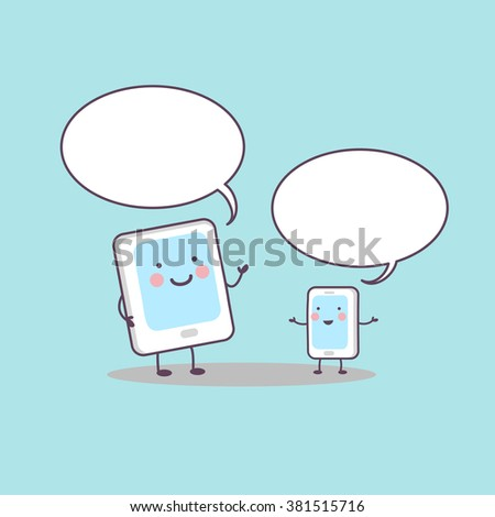 cute cartoon smart and digital tablet pc communicate with Speech Bubble, great for technology concept - stock photo