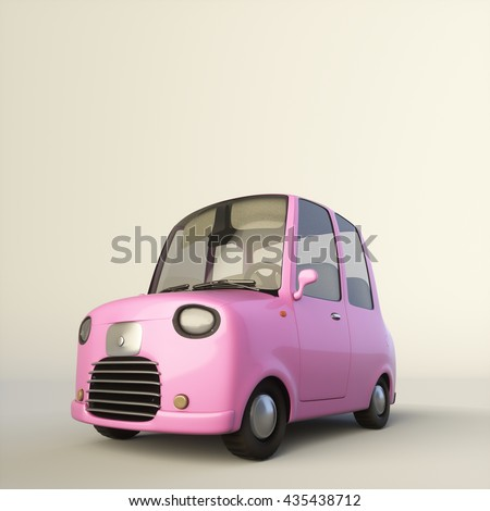 Cute cartoon stylized car in a pink color isolated on a white background. 3d rendering illustration. Low view