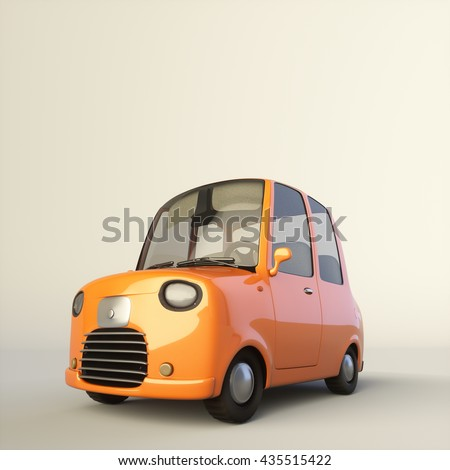 Cute cartoon stylized car in an orange color isolated on a white background. 3d rendering illustration. Low view